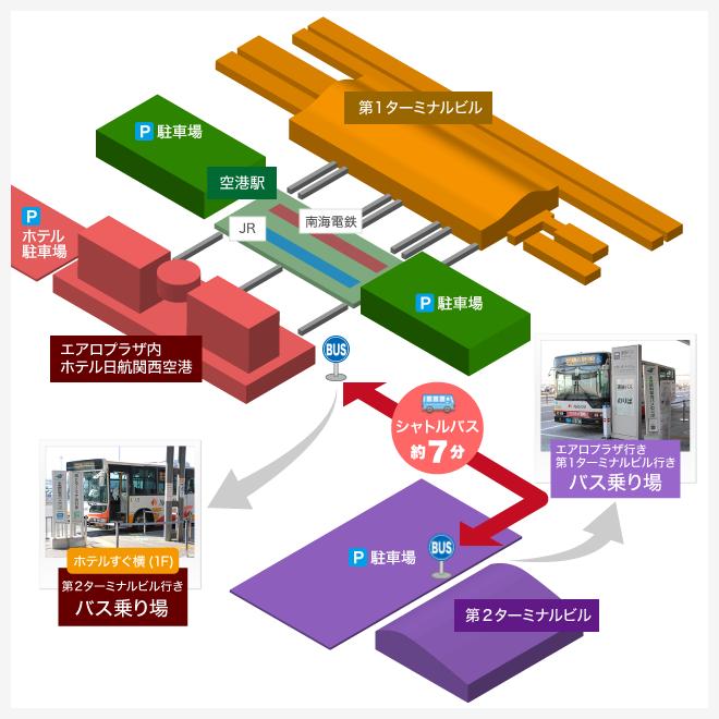 関空マップ ホテル日航関西空港から第2ターミナルまで、シャトルバス約7分